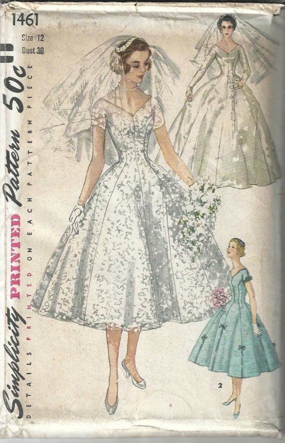 1950 S Tea Length Wedding Dress Simplicity Sewing Pattern Etsy In 2020 Sewing Wedding Dress Wedding Dress Patterns Vintage Wedding Dress Pattern
