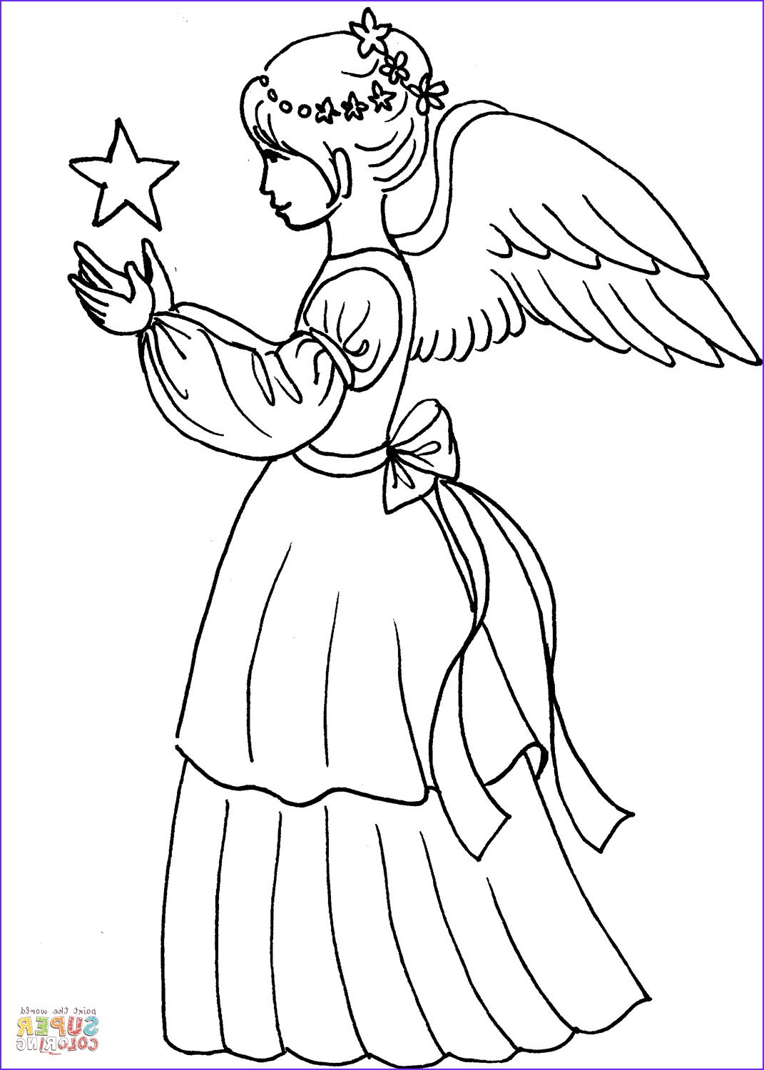 Christmas Angel Girl With Star Coloring Page Coloring Pages Sunday School Coloring Pages Star Coloring Pages