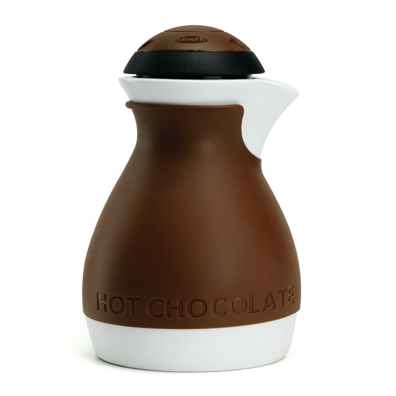 Chef'n Hot Chocolate Pot Schokoladenaufschäumer mit Keramikkanne, braun