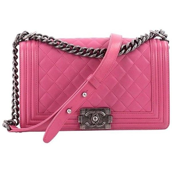 60f380844f30 Preowned Chanel Boy Flap Bag Quilted Lambskin Old Medium ($3,950) ❤ liked  on Polyvore featuring bags, handbags, messenger bags, pink, chain strap  purse, ...