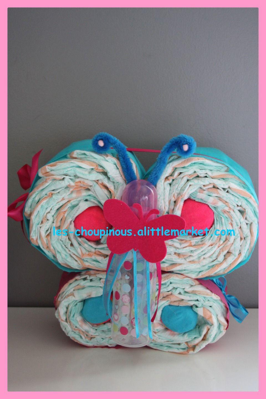 Cadeau b b naissance bapt me g teau de couches papillon d coration pour g teau de couches - Comment faire un gateau couche ...