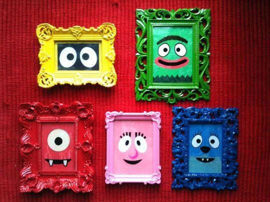 Una idea creativa para cuadros infantiles   Marcos antiguos, Cuadros ...