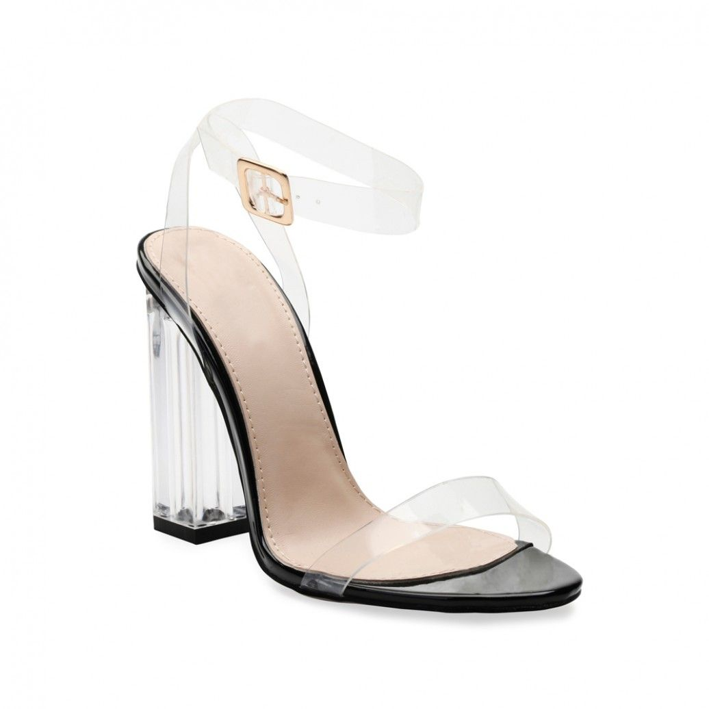 a3a3e7bda58 Alia Strappy Perspex High Heels in Clear Black Patent | Shoe ...