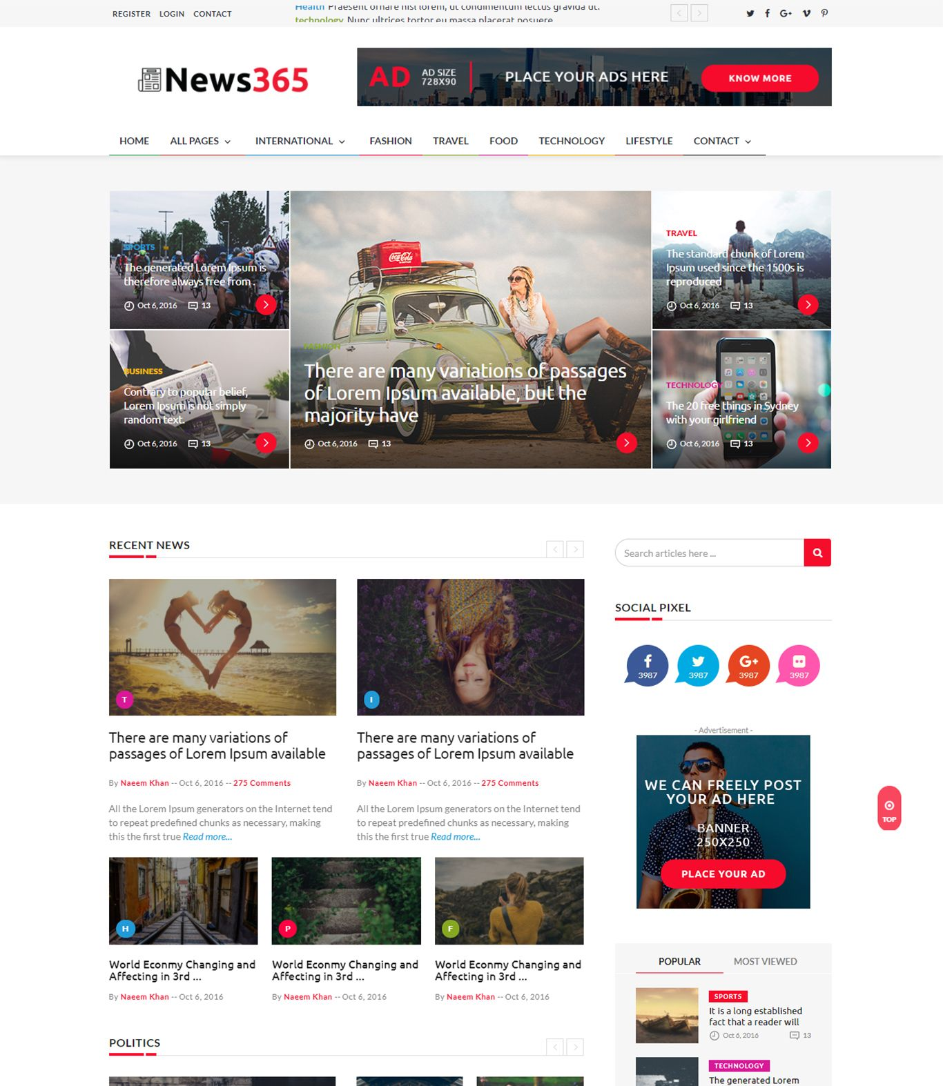 News365 Best Wordpress Newspaper Theme For News Portal Site