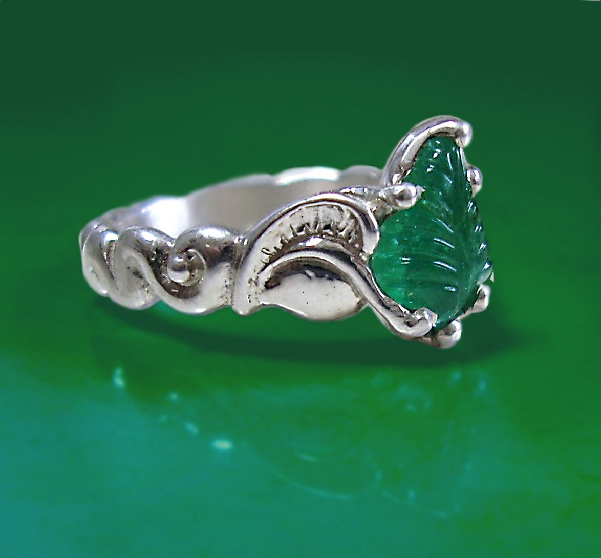 Woodland carved natural emerald leaf ring solid sterling silver Myth magi