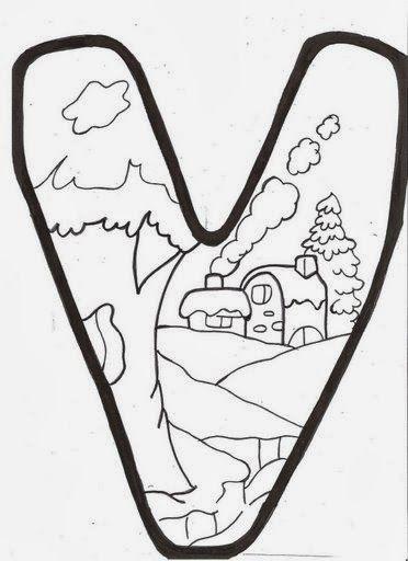 BAÚL DE NAVIDAD: Letras infantiles de invierno para colorear y ...