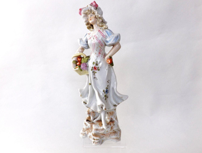 Antique Figurine Victorian Porcelain Figure Female Fruit Seller