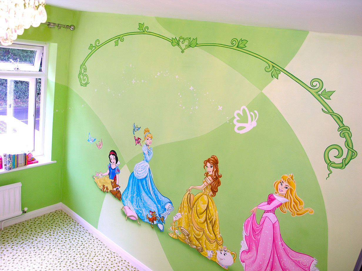 Mural Disney Princesses Snow White Cinderella Belle And Aurora · Disney  PrincessesDisney Princess CharactersPrincess Wall ... Part 36
