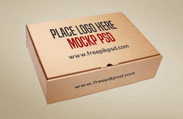 Free Cardboard Box Psd Mockup Box Kraft Free Hinged Box Packaging Mockup Box Mockup Mockup Design