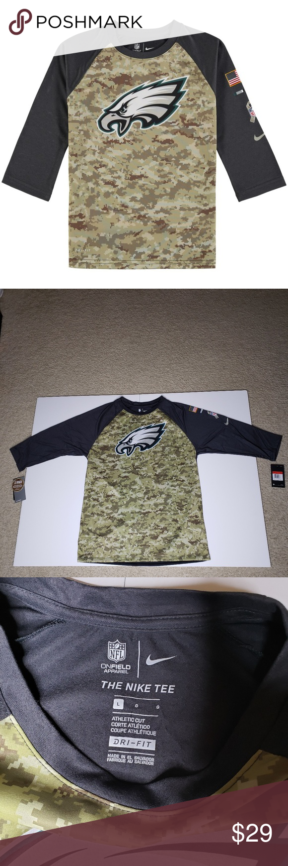 Philadelphia Eagles Salute to Service 3/4-Sleeve Philadelphia Eagles Salute to Service 3/4-Sleeve Raglan T-Shirt 875362-060 Sz L. Condition is New with tags, never worn, no rips or tears.  Smoke and pet free. Nike Shirts Tees - Short Sleeve #salutetoservice