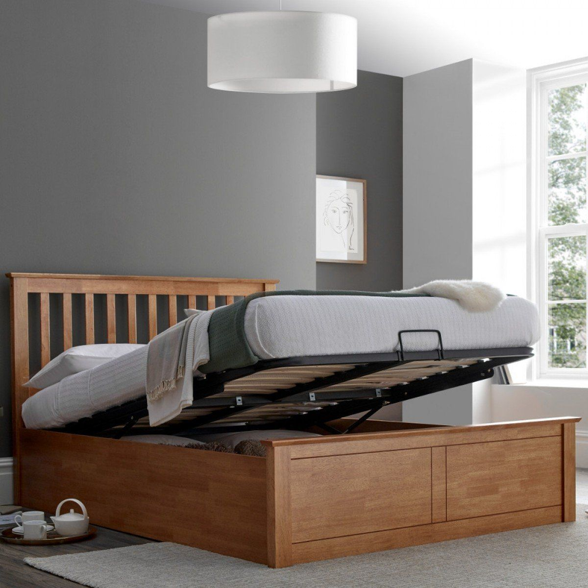 Malmo Oak Wooden Ottoman Bed Frame 5ft King Size In 2020