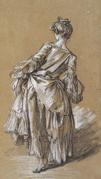 951a12bddf2 Standing Woman Seen From Behind by François Boucher (1703-1770)  drawing  c.1742