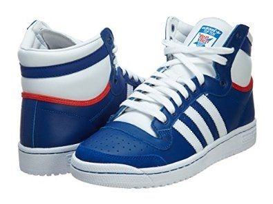 Adidas Top Ten Hi Blue White Mens Trainers Color: Royal Blue / White-Red