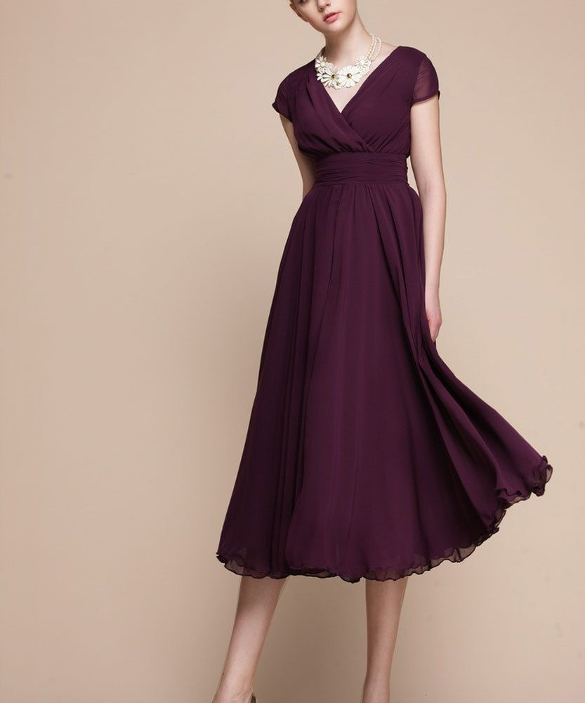 ca6aa8e8bce Purple Maxi Dress with V Neck and Cap Sleeves-Purple Evening Dress ...