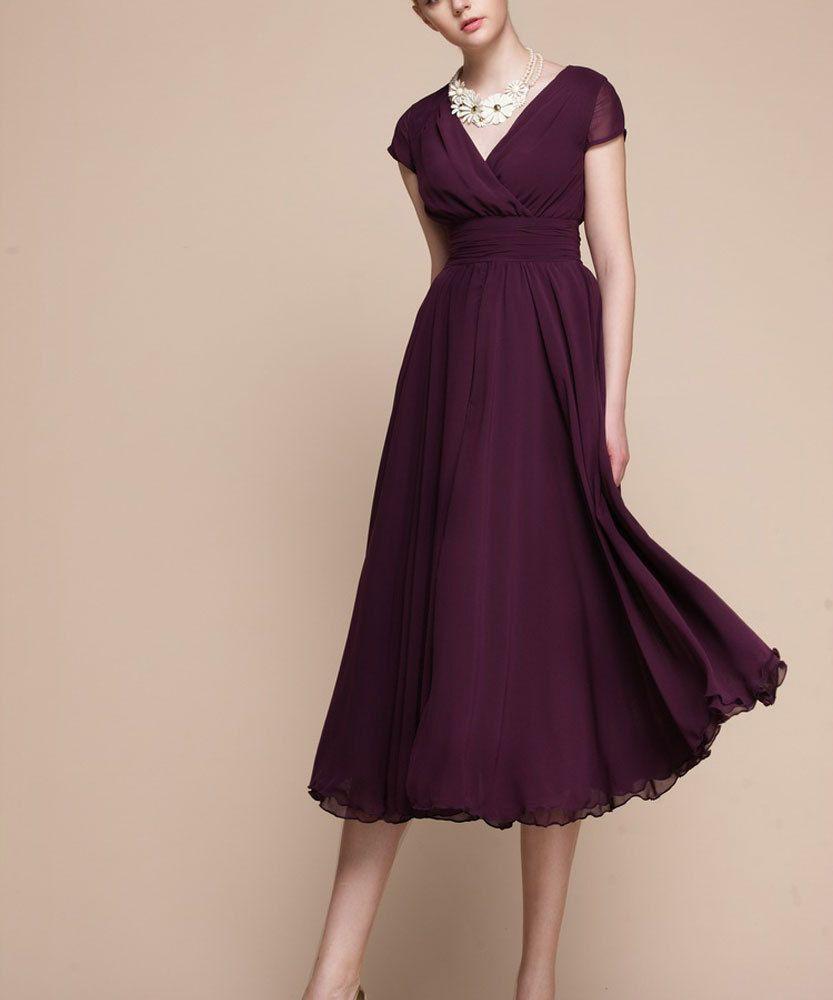 171c768e9d2c Purple Chiffon Midi Dress V Neck Long Chiffon Dress by DressStory, $124.99