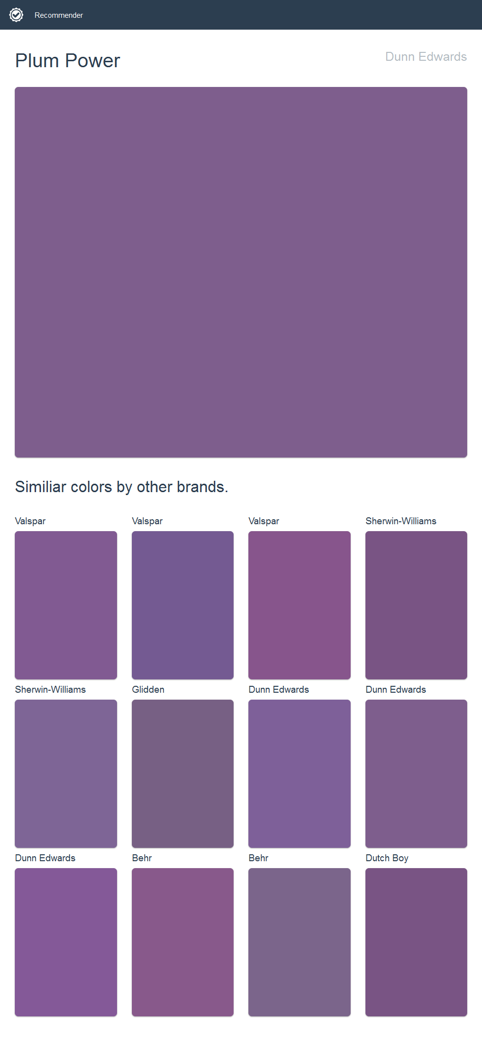 Plum Power, Dunn Edwards. Click the image to see similiar colors by other brands.