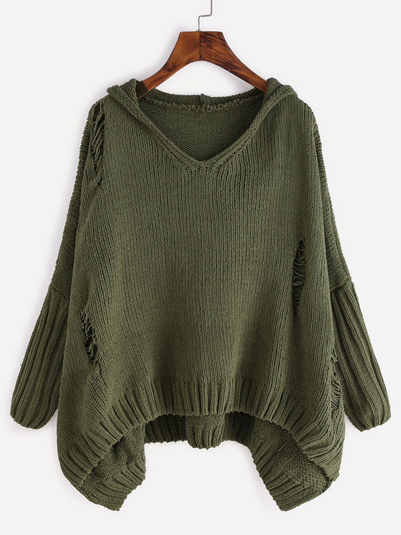 b42d1d016 Distressed High Low Hooded Sweater  Knitwear