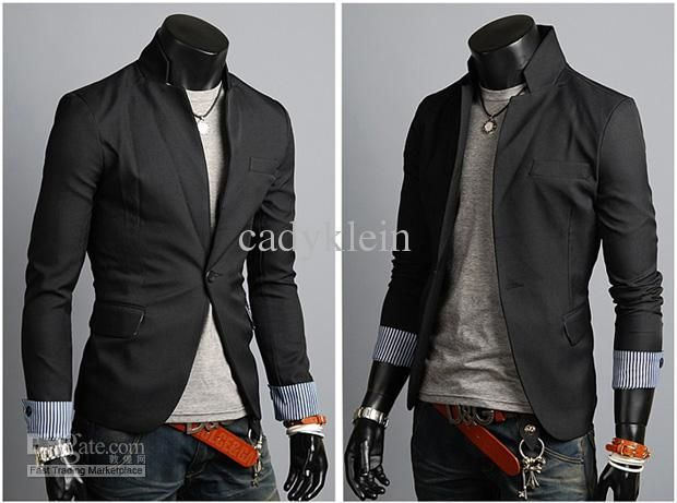 Mens Casual Suits Stylish Korean Style Suits For Men Black Jackets ...