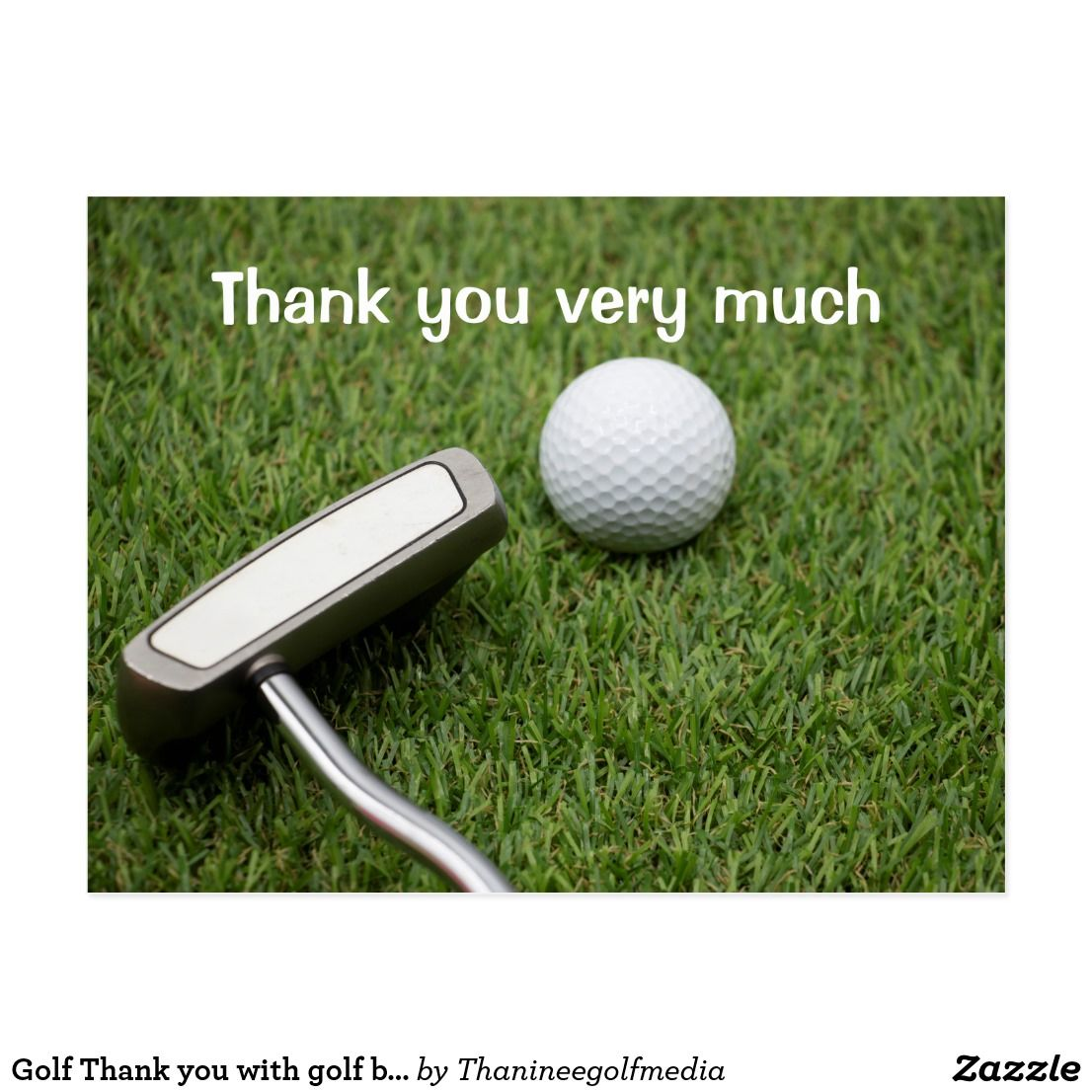 Golf Thank You With Golf Ball And Putter On Green Postcard