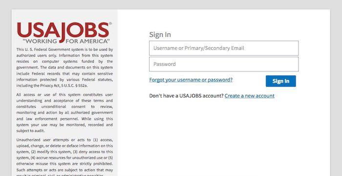 USAJOBS Login   Websites   Login page, Job search