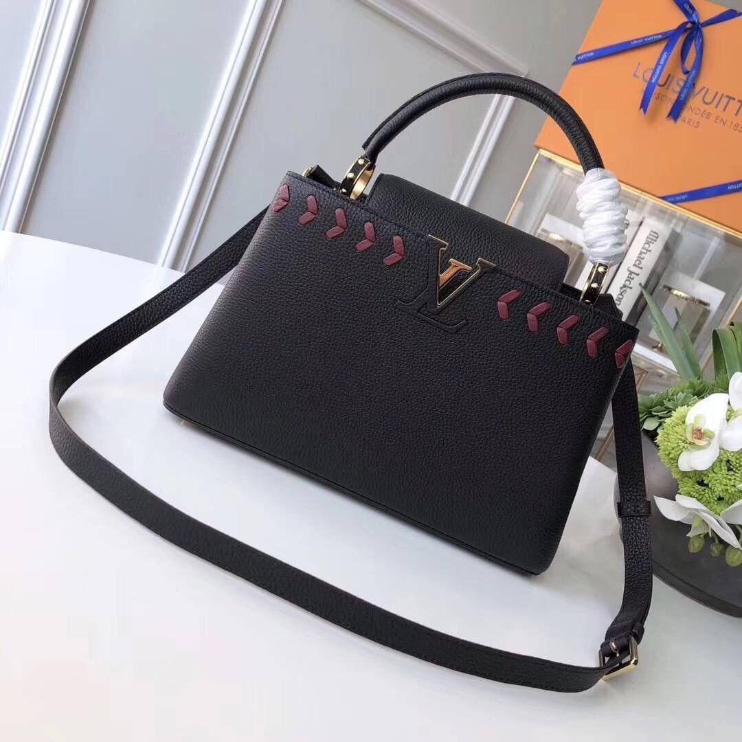 Louis Vuitton Taurillon Leather Capucines PM With Lambskin Leather Chevron  M54882 Black 2018 3293edd511