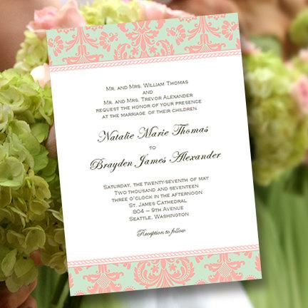 Printable Wedding Invitation Template Damask Peach Mint Green