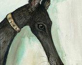 Summer Days - GREETING CARD Greyhound Art Print. £2.50, via Etsy.