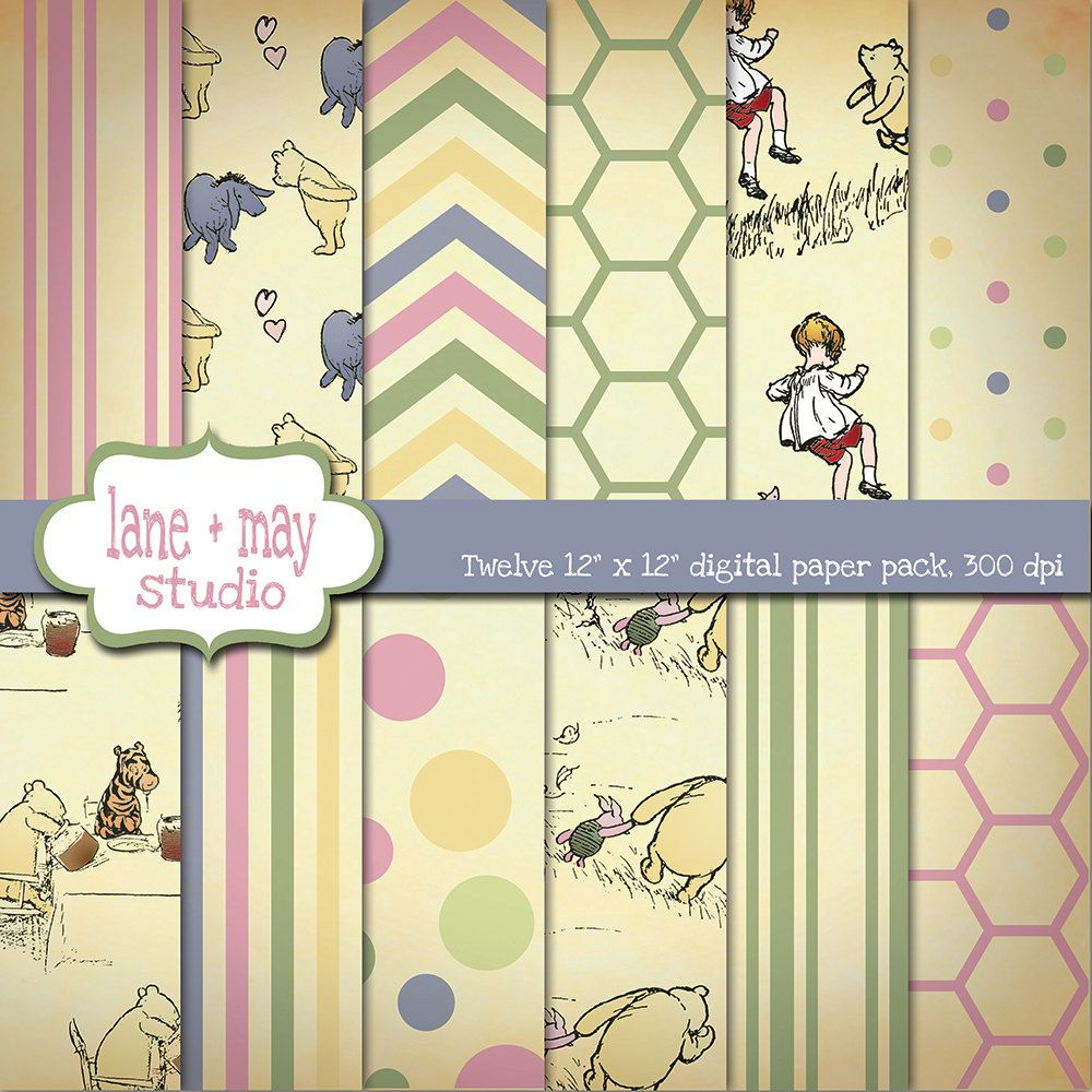 digital scrapbook papers - classic winnie the pooh theme - INSTANT ...