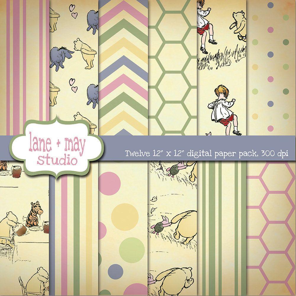 Scrapbook paper etsy - Classic Winnie The Pooh Digital Scrapbook Papers 7 50 Via Etsy