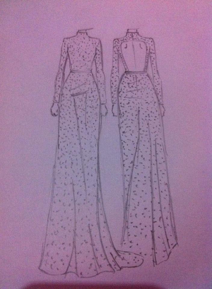beaded long sleeves gown