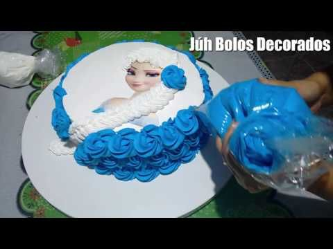 Como Decorar Bolo Frozen Elsa (Trança em Chantilly 2) - YouTube