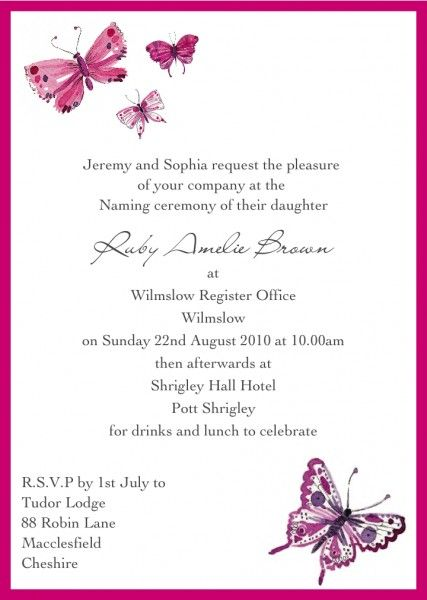 Birth Ceremony Invitation Card