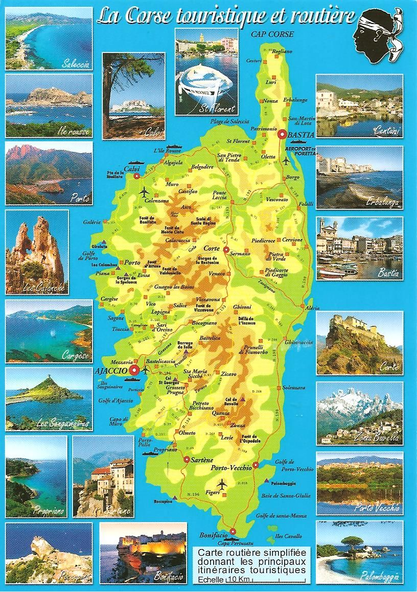 MY POSTCARDPAGE FRANCE Corsica Map PLACES TO VISIT Italia