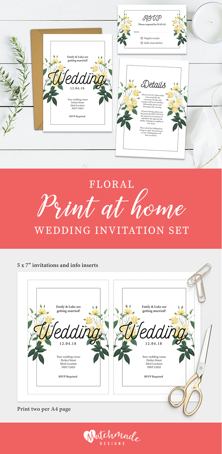 Floral Wedding Invitation Template | Printable Wedding Invites Set ...