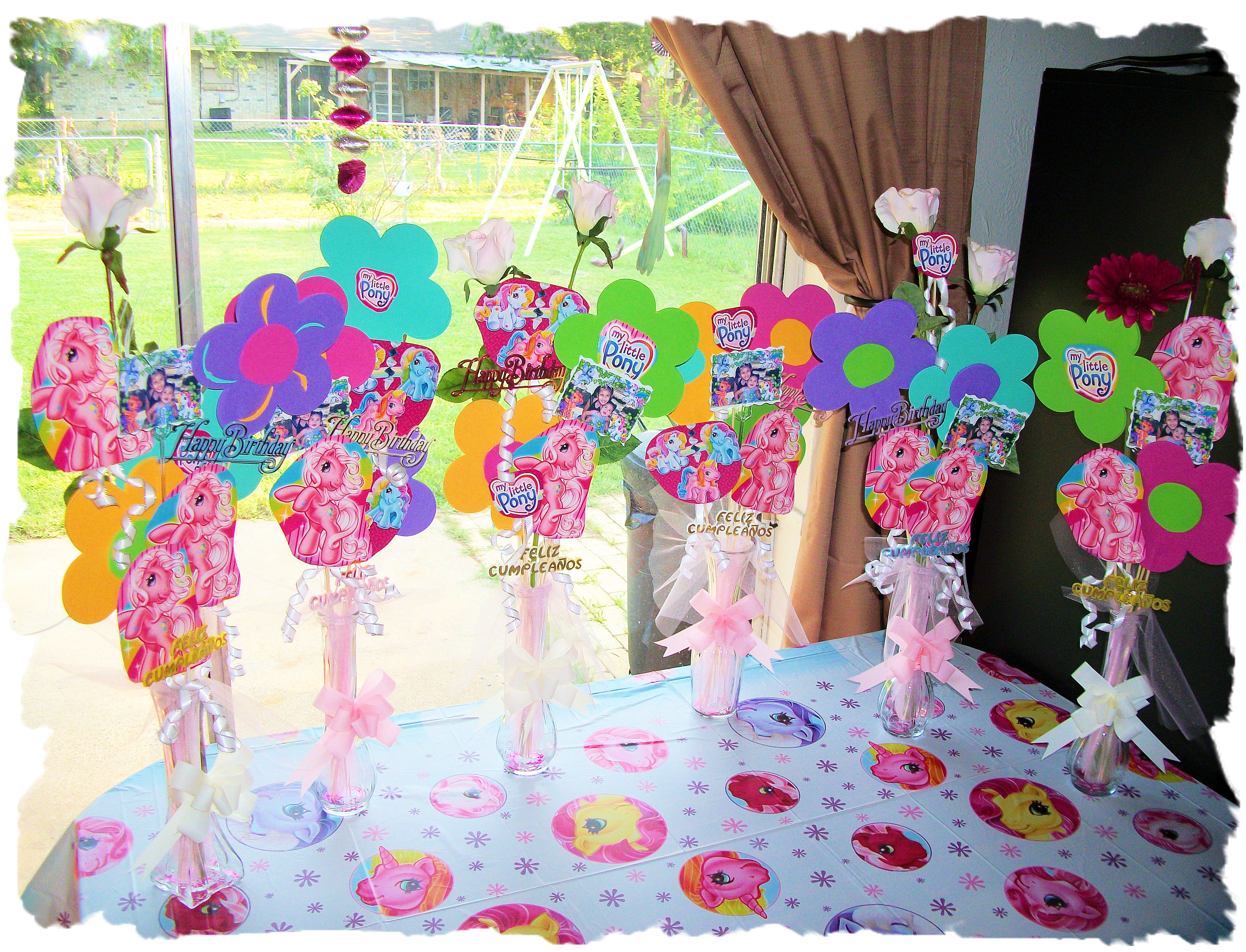 My Little Pony Table Decorations With Pictures Of Birthday Girl