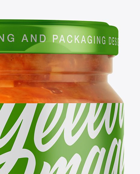 250ml Clear Glass Jar with Sauce Mockup - Front View