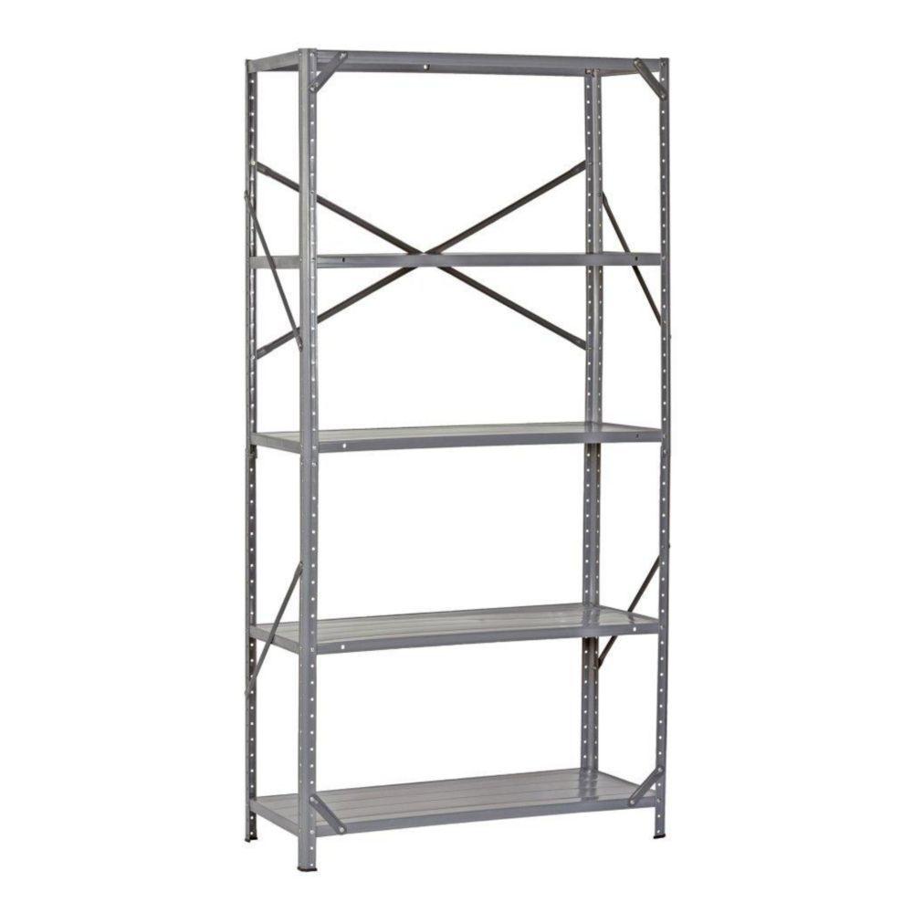 tag re de stockage en acier robuste de couleur grise pour 5 tablettes 36 l x 16 p x 72 h. Black Bedroom Furniture Sets. Home Design Ideas