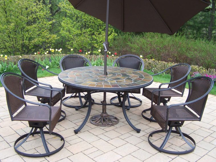 Art Stone Outdoor Top Table With Black Iron Chair Using Round Base As Well Metal