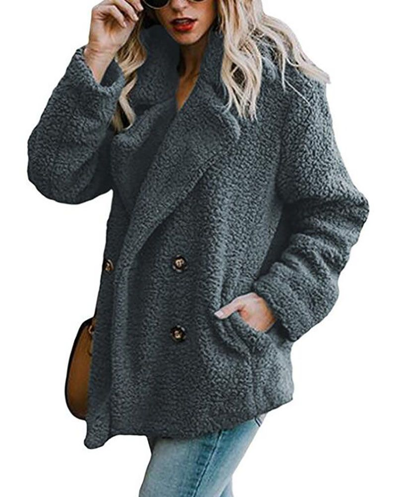 9feaca35fc13 Shawl Collar Long Sleeve Buttoned Solid Winter Teddy Bear Coat – lalasgal