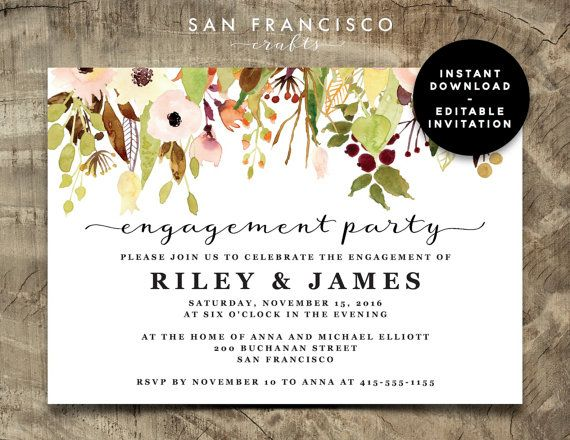 Engagement Party Invitation Instant Download Editable Engagement Party Invite Template Fall Floral Riley Collection Printable Pdf Engagement Party Invitations Engagement Party Party Invite Template