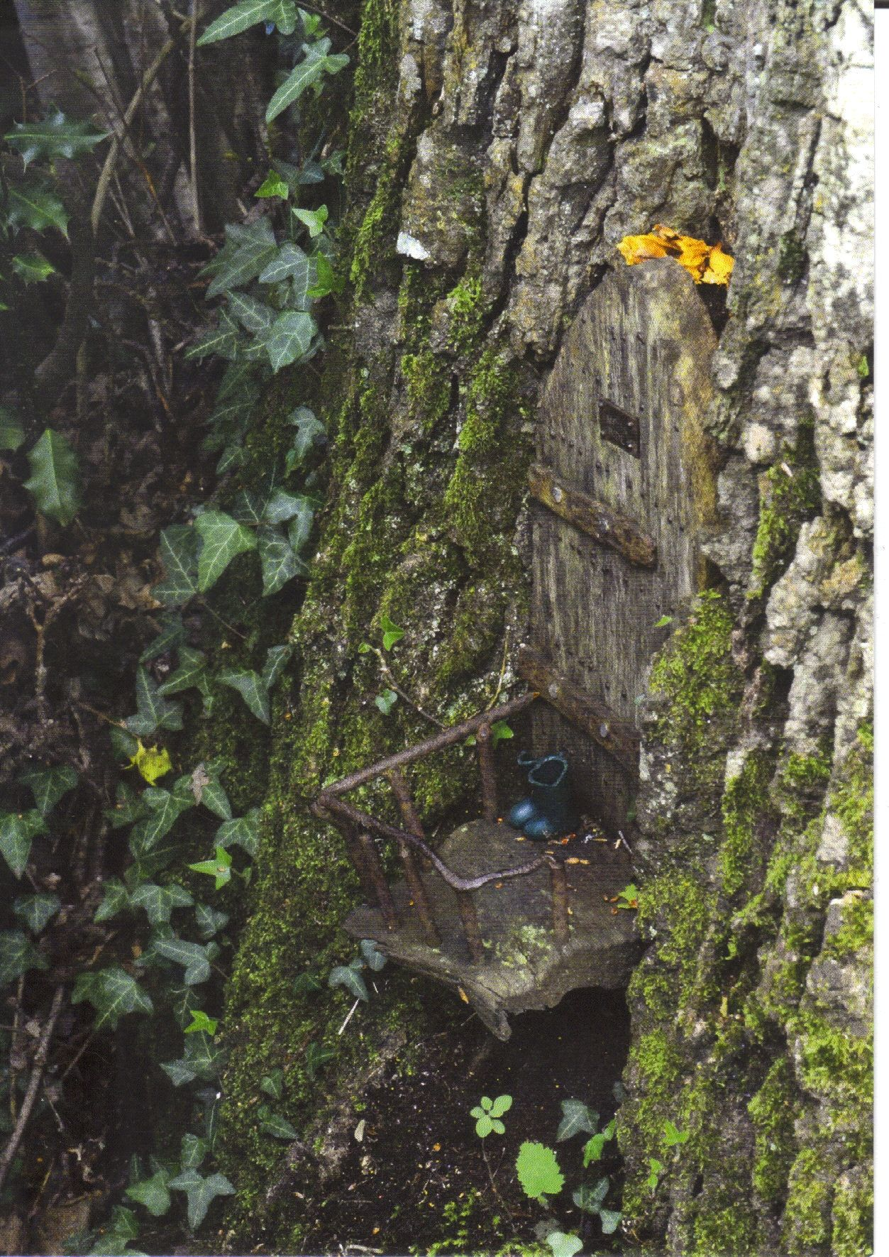 Fairy Door with boots, Furzey Garden. Dorset, England