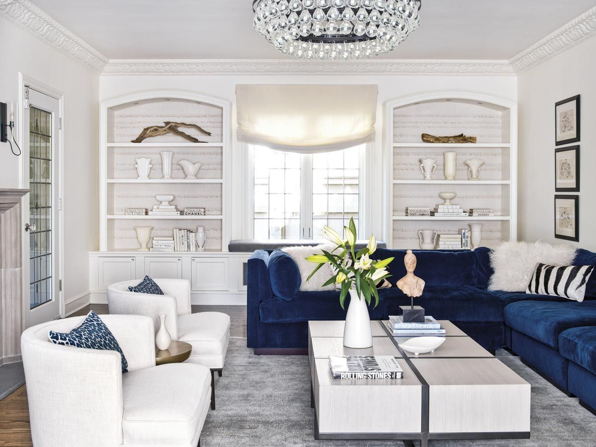 43 Modern Glam Living Room Decorating Ideas Blue Sofas Living