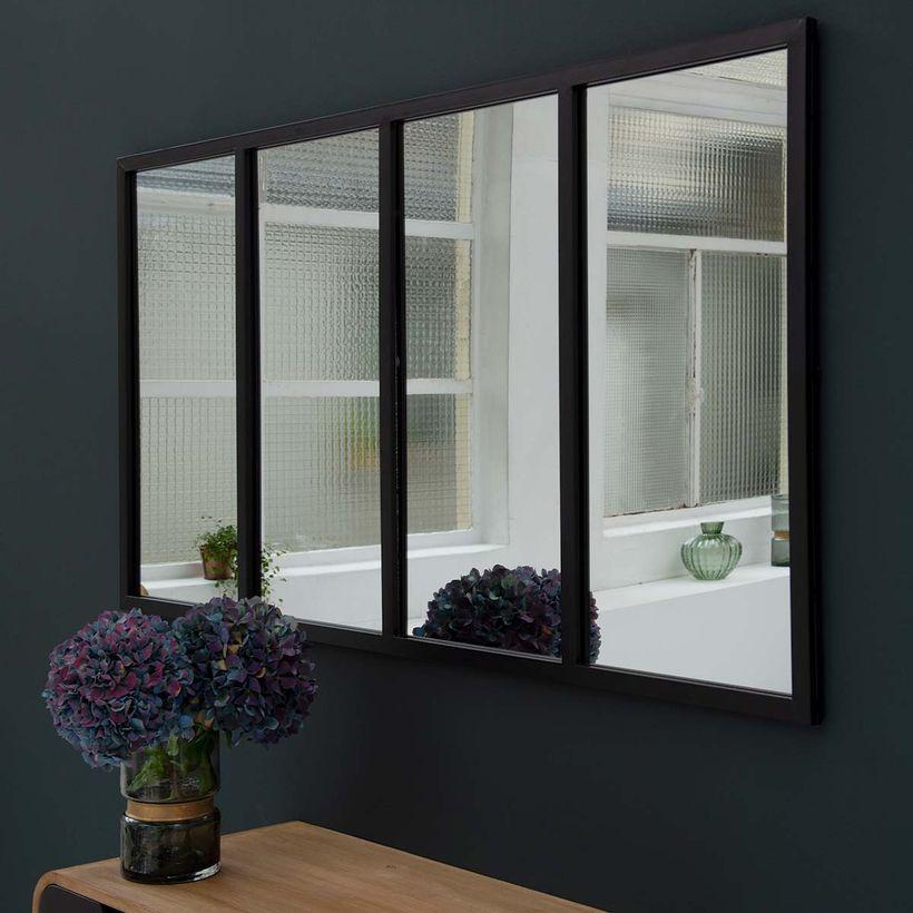 Miroir Atelier Verriere Horizontale Rectangulaire Metal Noir