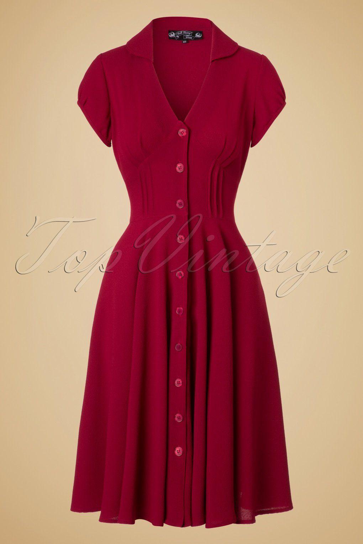 1940s Keely Swing Shirtwaist Dress In Red 53 98 At Vintagedancer