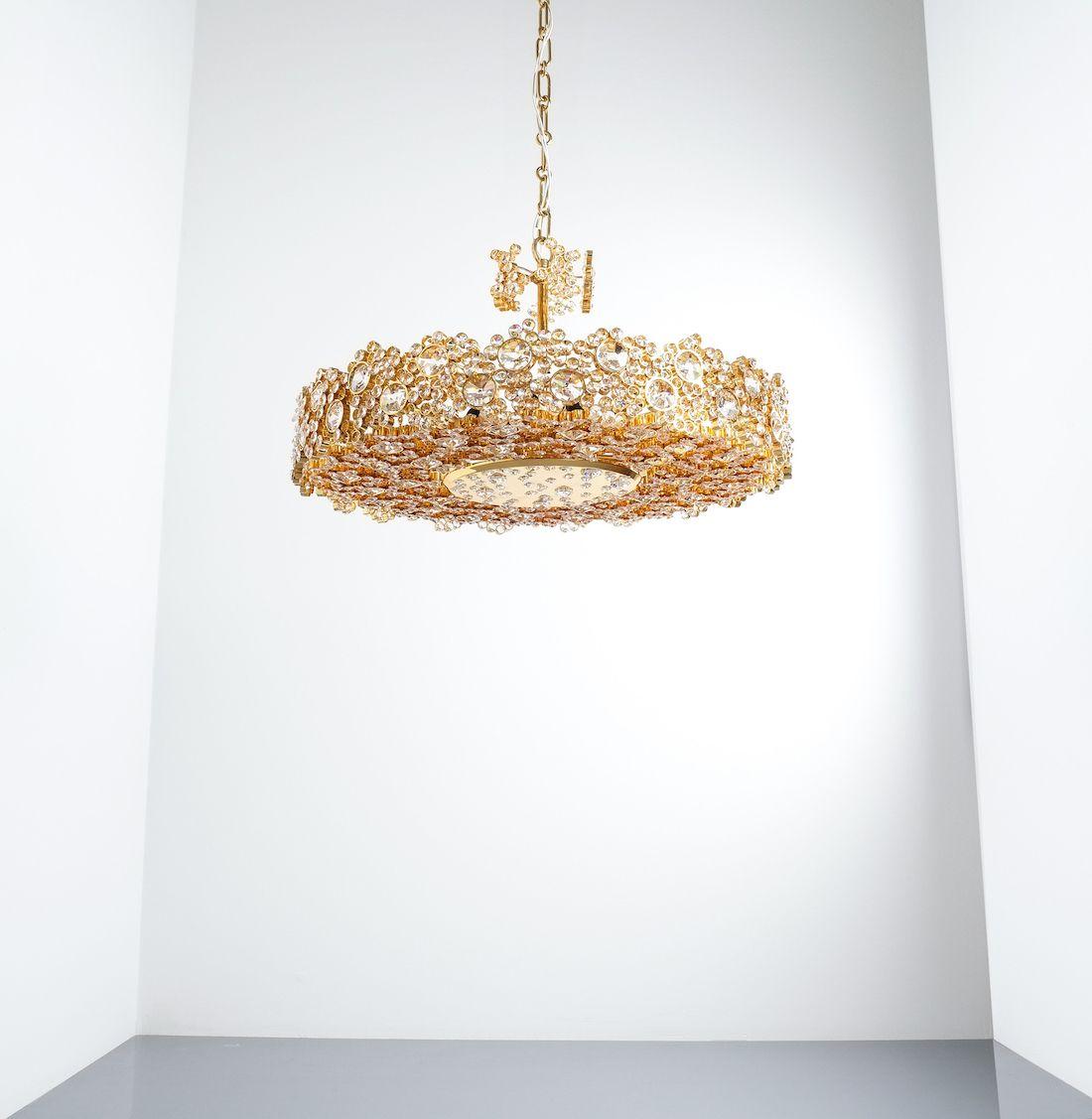 Palwa Crystal Glass Gold Plated Brass Chandeliers Gartenhaus Garten