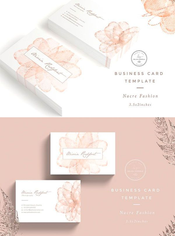 Nacre Fashion Business Card Template Fashion Business Cards Florist Business Card Beauty Business Cards