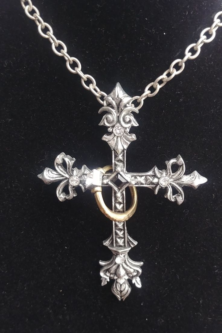 24 Inches Mysterious Pattern Snake Cross Necklace for Adult Black Zinc Alloy