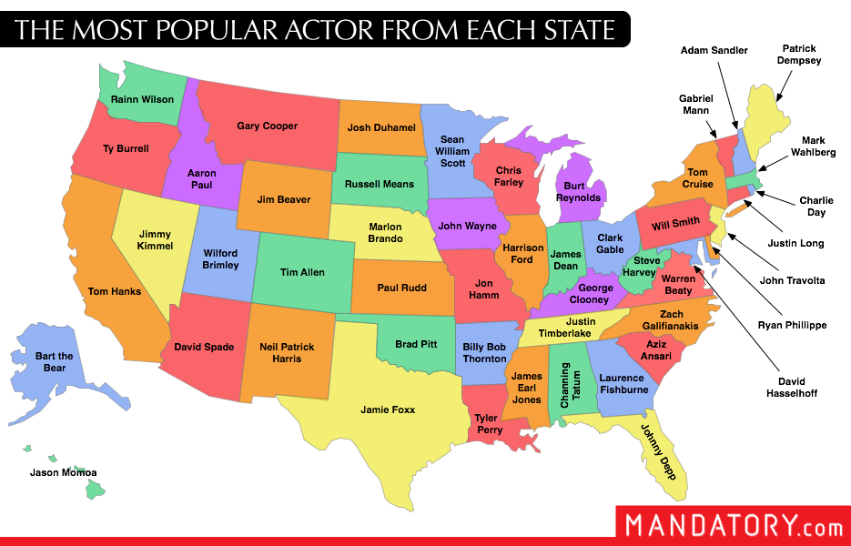 Map of the most por # actor from each # USA ... In Each Usa State Maps on states in turkey, states in new jersey, states in washington, states in new mexico, states in vermont, states in puerto rico, states in new york, states in arkansas, states in texas, states in west virginia, states in colorado, states in florida, states in arizona, america state map, us state map, states in north america, states in north dakota, states in california, states in north carolina, atlanta usa map,
