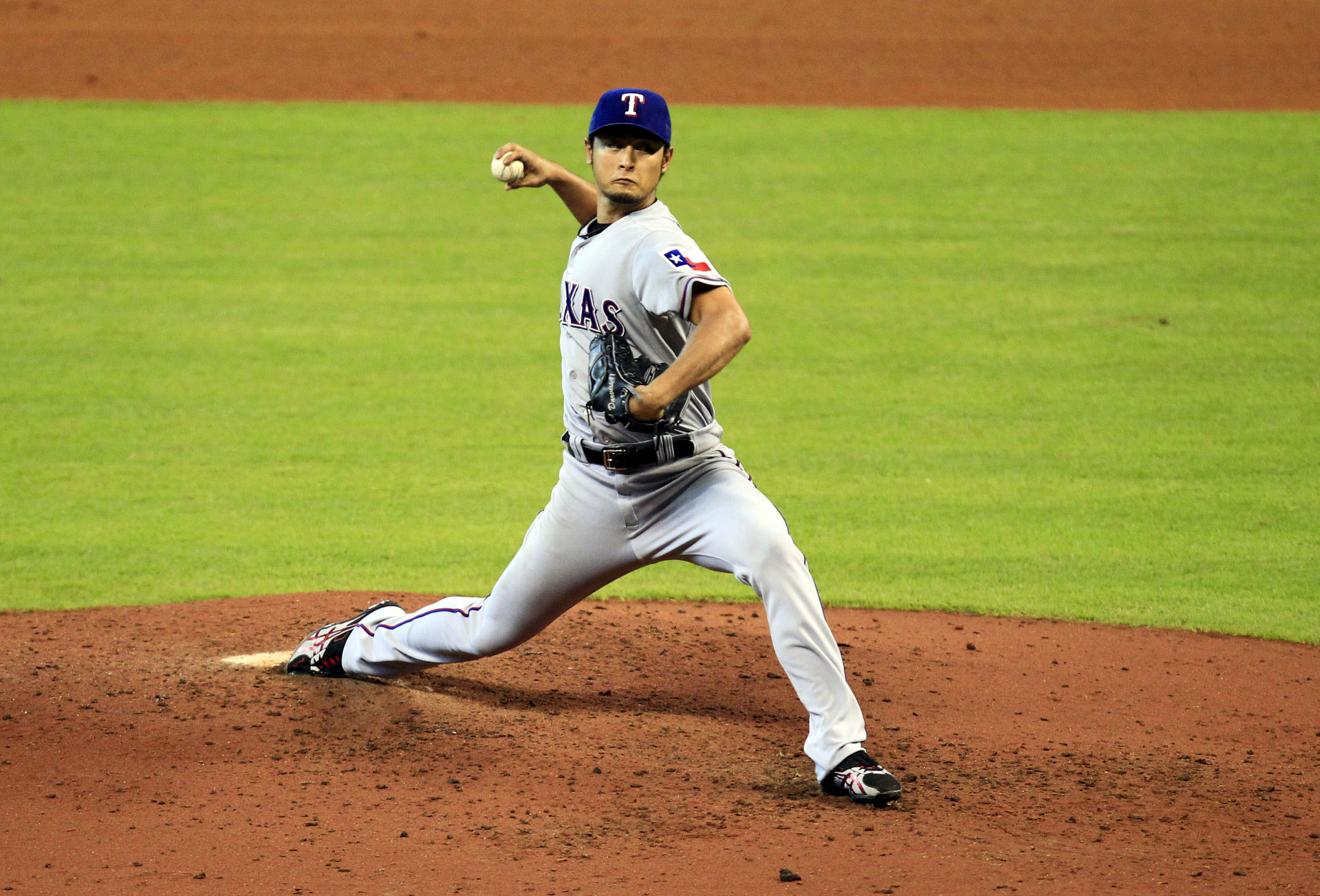 Texas Rangers starting pitcher Yu Darvish pitches against the Houston Astros during the eighth inning at Minute Maid Park.
