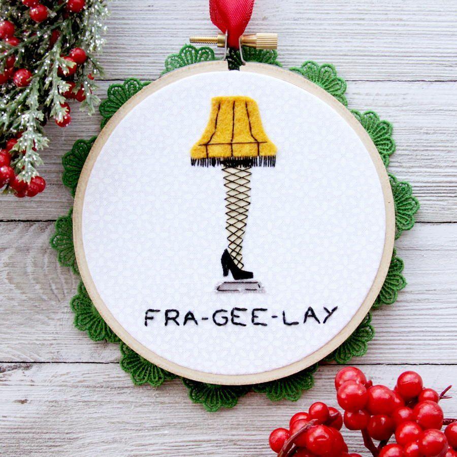 Leg Lamp Christmas Ornament Christmas Embroidery Diy Christmas Ornaments Needlework Christmas